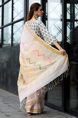 Powder Pink Linen Saree With Multi Color Threadwork