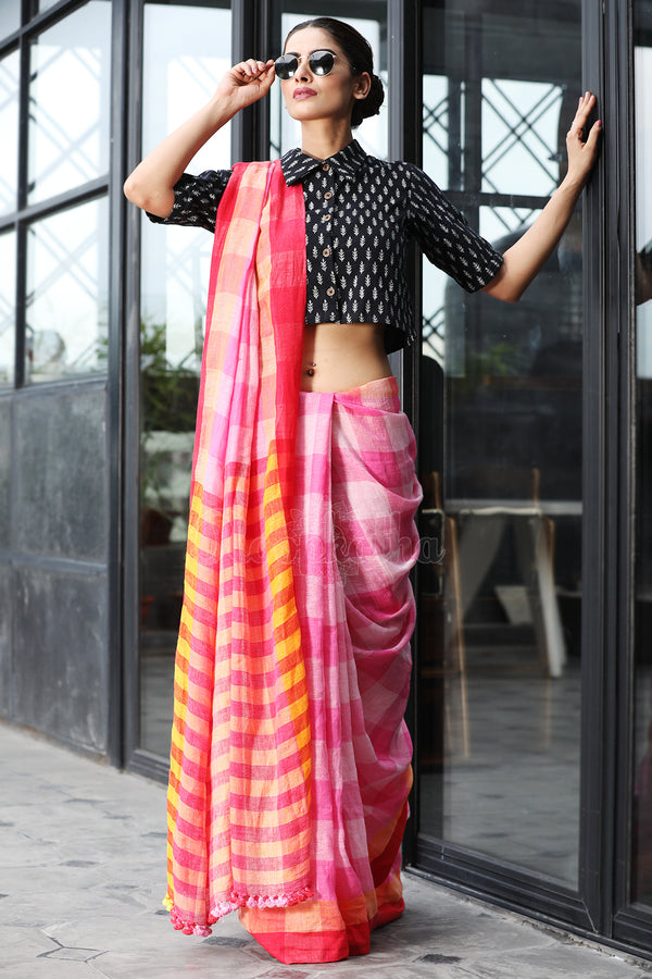 Pink on Pink Checkered Linen Saree