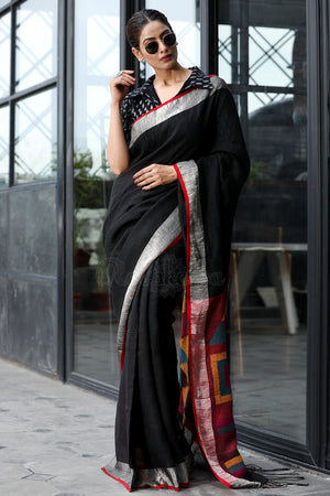 Black Linen Saree with Geometric Design Pallu