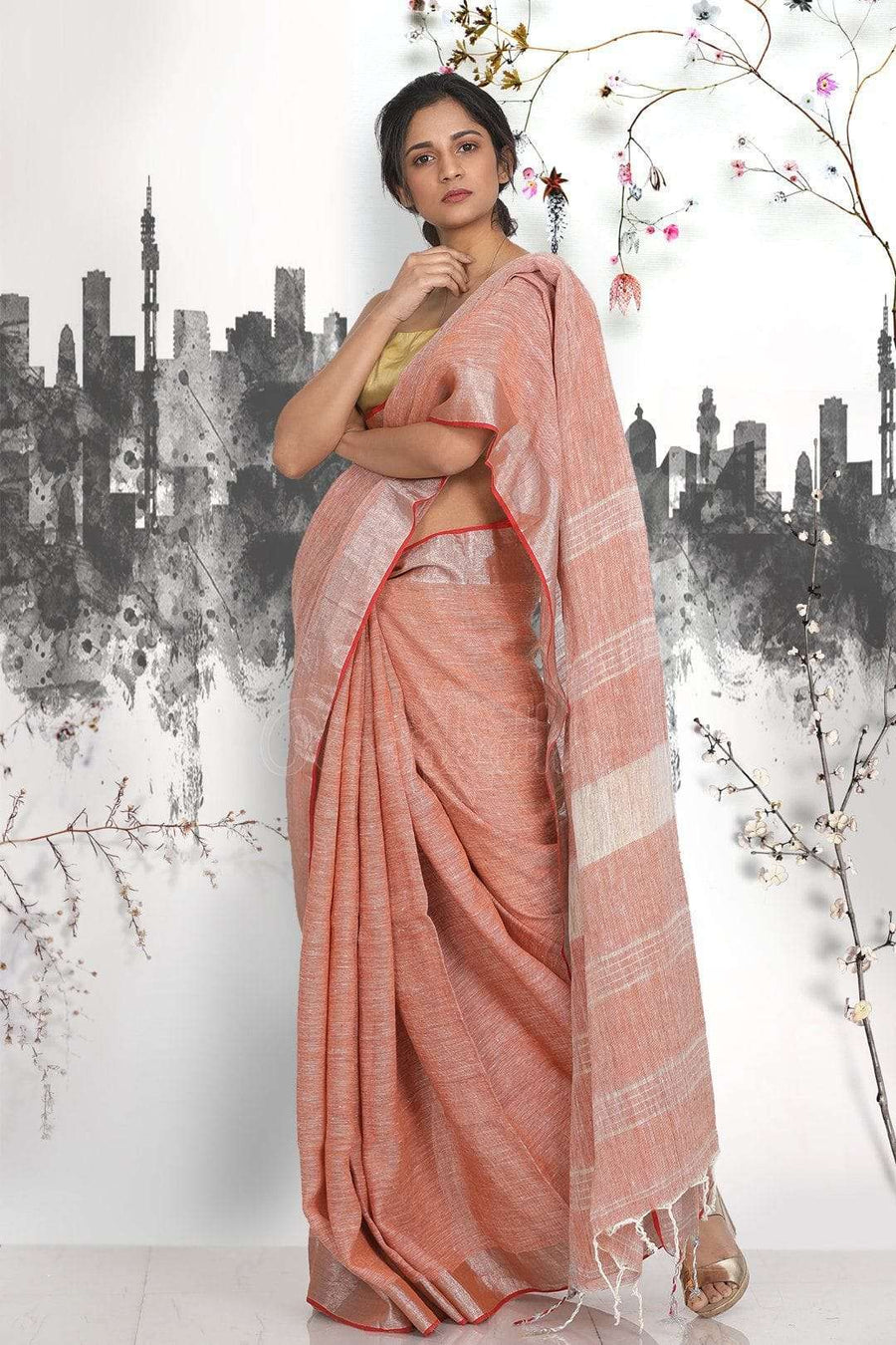 Burnt Orange Saree With Zari Border