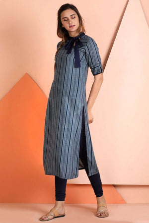 Blue Striped Kurta With Neck Tie