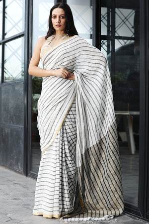 White Striped Linen Saree With Zari Border