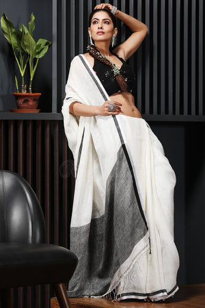 Off White Linen Saree