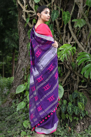 Purple Linen Saree With Woven Design Earthen Collection Roopkatha - A Story of Art