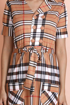 Caramel Brown Checkered Kurta