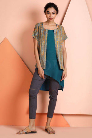 Blue Tunic With Textured Shrug
