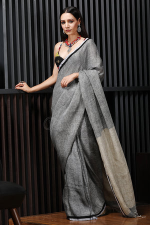 Charcoal Grey Linen Saree