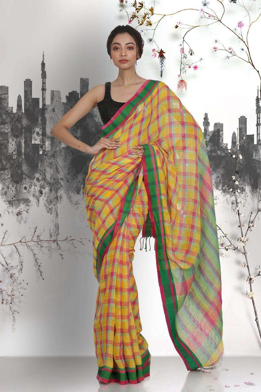 Multicolour Linen Saree with Checkered Design