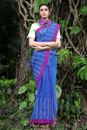 Blue Cotton Saree With Woven Design Cotton Threads Of India Roopkatha - A Story of Art