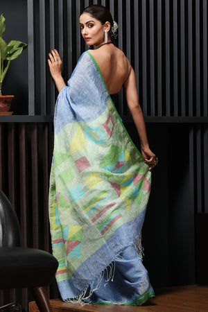Cerulean Blue Linen Saree with Geometric Design Pallu