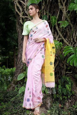 Faded Pink Blended Cotton Saree With Painted Motif
