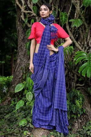 Blue Cotton Saree With Checkered Design
