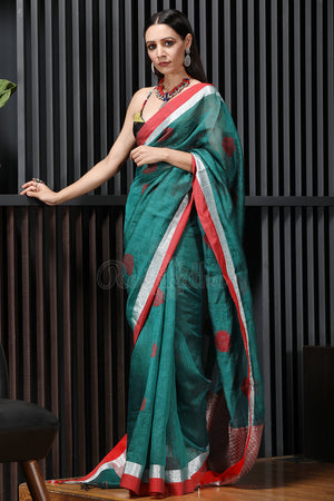 Teal Mixed Linen Saree with Woven Design