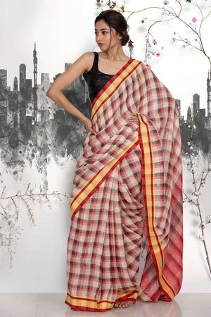 Multicolour Linen Saree with Checkered Design Earthen Collection Roopkatha - A Story of Art
