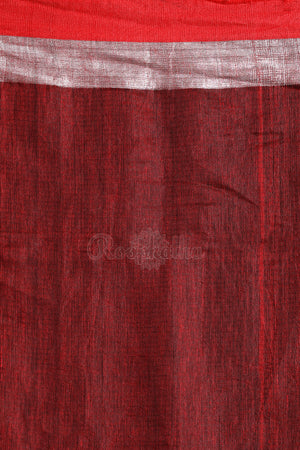 Chestnut Brown Mixed Linen Saree with Woven Design