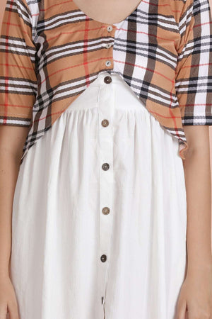 White Tunic With Check Shrug