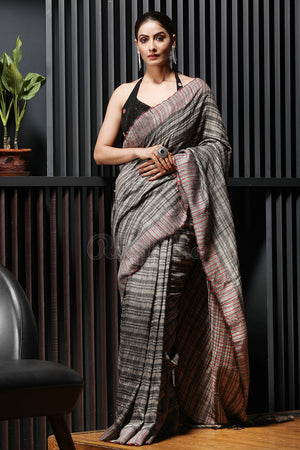 Mossy Gold Striped Resham Gheecha Saree