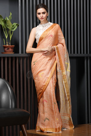 Apricot Linen Saree With Thread Weave