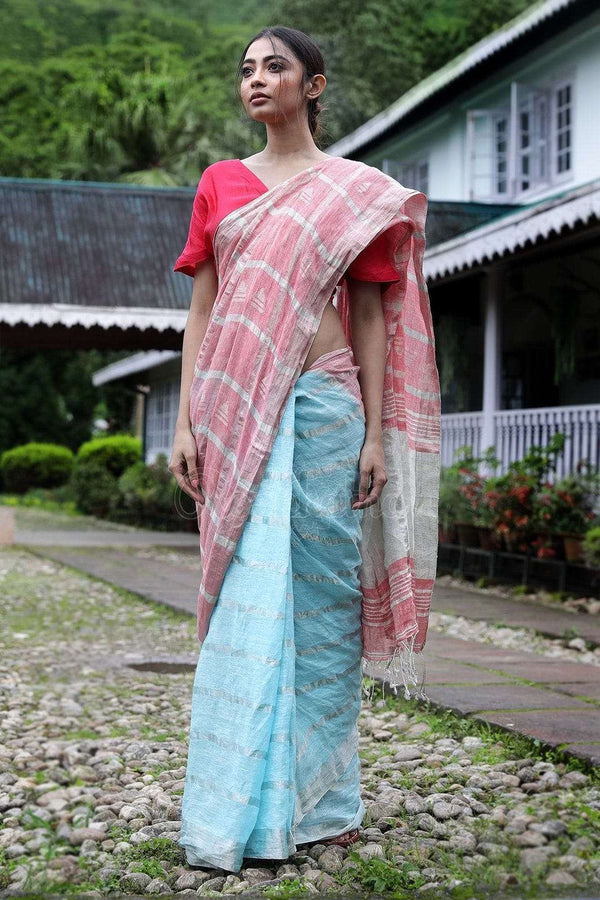 Pink & Light Blue Linen Saree With Zari Check Earthen Collection Roopkatha - A Story of Art