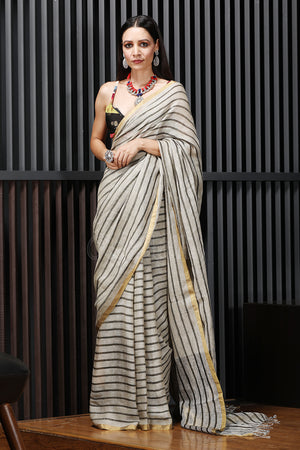 Ivory Striped Linen Saree With Zari Border