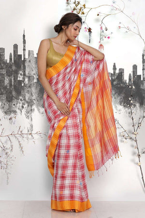 Red Linen Saree with Checkered Design Earthen Collection Roopkatha - A Story of Art