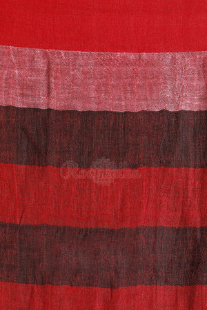 Black and Red Madras Check Linen Saree