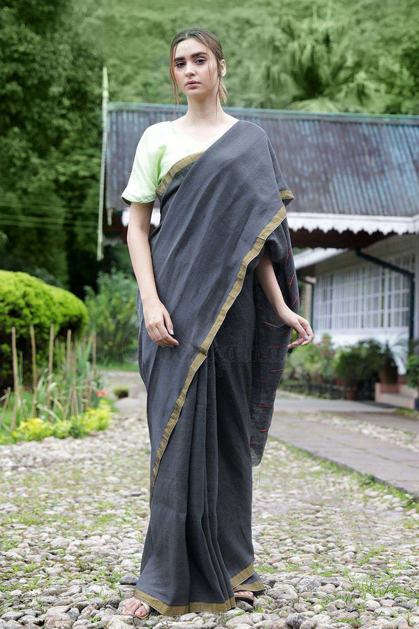 Slate Grey Linen Saree With Thread Stitch Pallu Earthen Collection Roopkatha - A Story of Art