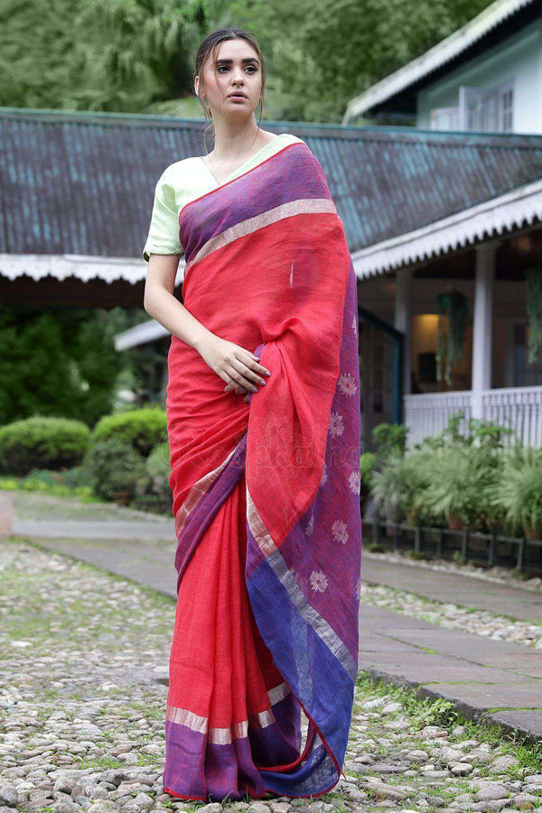 Tomato Red Linen Saree With Woven Pallu