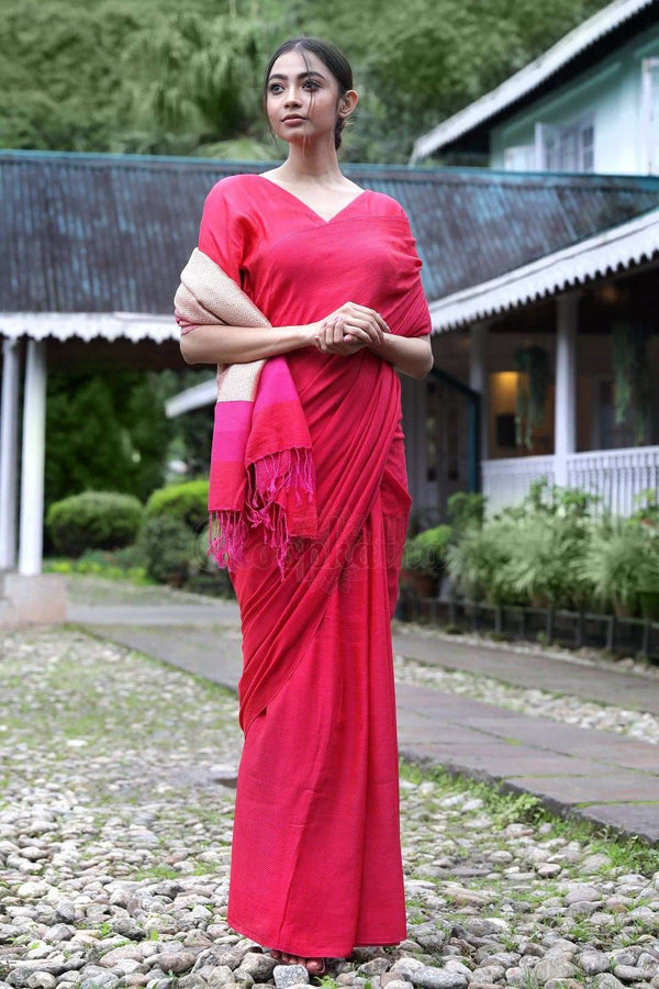 Fuchsia Cotton Saree With Plain Design
