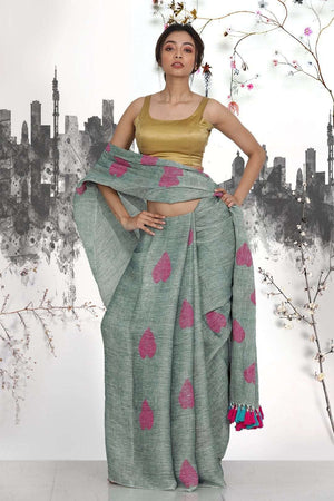 Grey Linen Saree With Heart Motifs Earthen Collection Roopkatha - A Story of Art