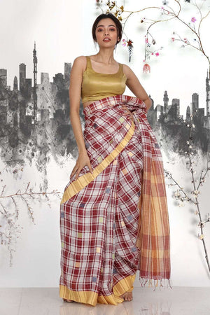 Brown Linen Saree With Checkered Designs Earthen Collection Roopkatha - A Story of Art