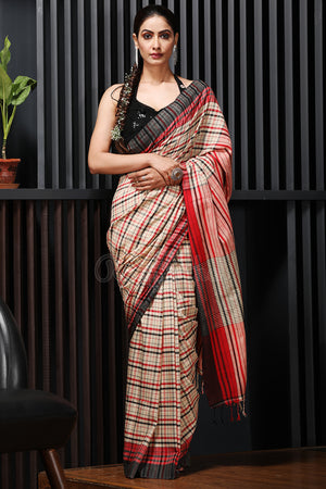 Beige Plaid Red and Black Check Cotton Saree