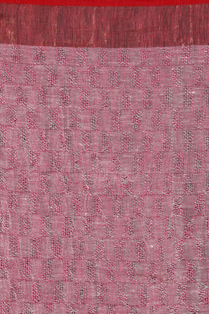 Watermelon Pink Linen Textured Weave Saree with Zari Pallu