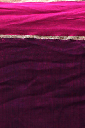 Black Cotton Saree With Purple Border Cotton Threads Of India Roopkatha - A Story of Art