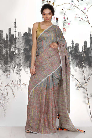 Multicolour Half & Half Linen Saree With Stripes Earthen Collection Roopkatha - A Story of Art