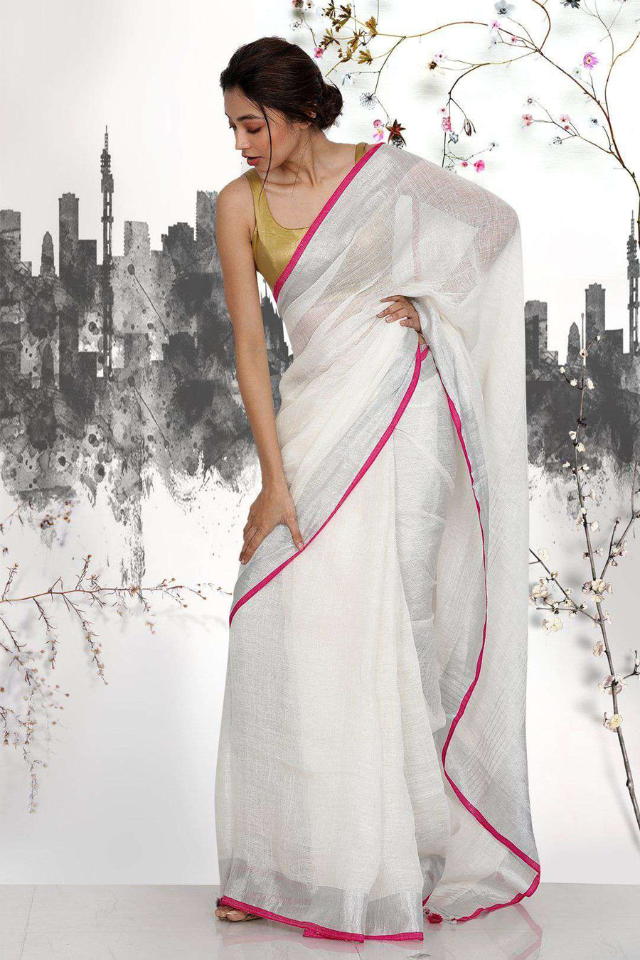 White Linen Saree With Zari Border Earthen Collection Roopkatha - A Story of Art