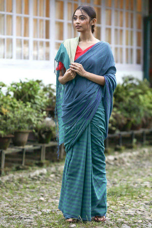 Blue & Green Cotton Saree With Striped Design
