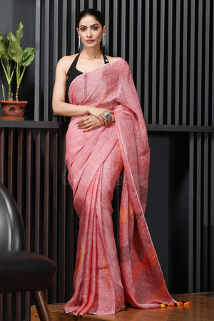 Punch Pink Linen Saree With Thread Work