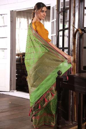 Green Kota Check Saree With Zari
