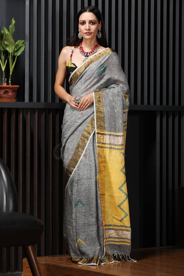 Charcoal Grey Linen Saree With Thread Work