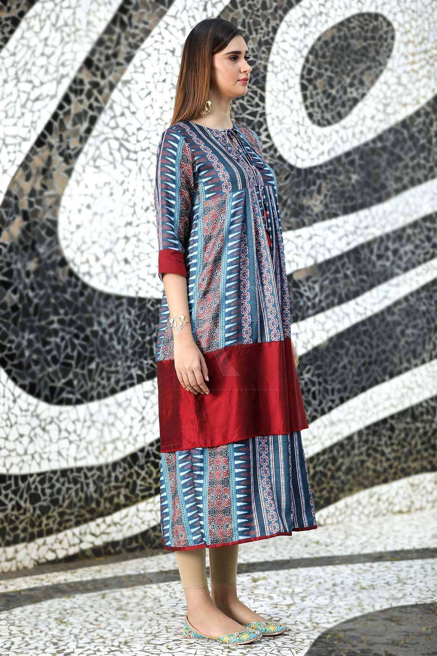 Multicolor Long Sleeve Kurta
