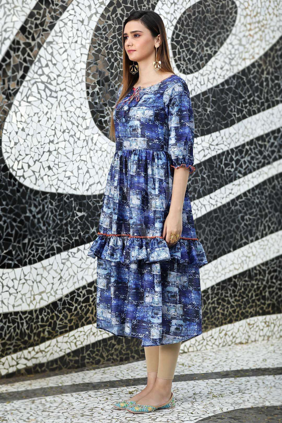 Blue Textured Kurta