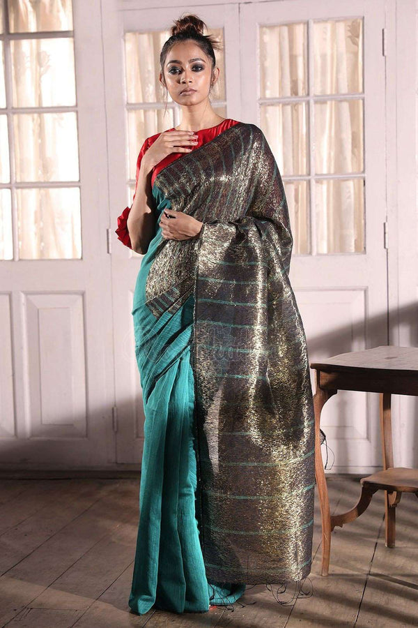 Blue Cotton Silk Saree With Lurex Akasha Roopkatha - A Story of Art