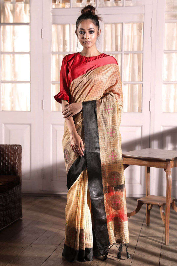 Beige Kora Saree With Dual Tone Border VARANASI CHRONICLES Roopkatha - A Story of Art