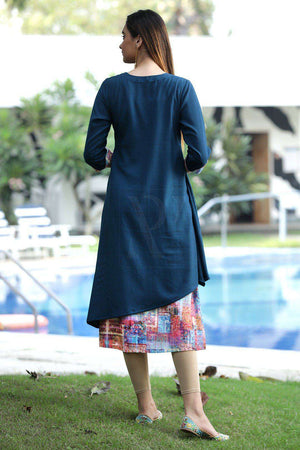 Multicolor Kurta With Long Shrug