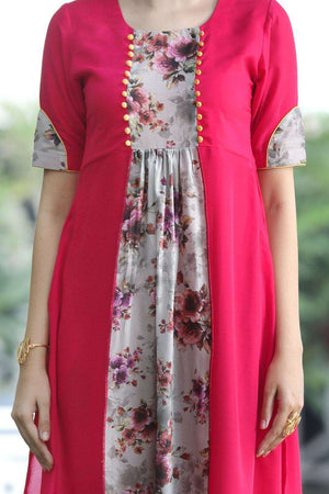 Dark Peach Elbow Sleeve Kurta