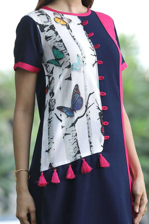 Blue Kurta With Print Patch