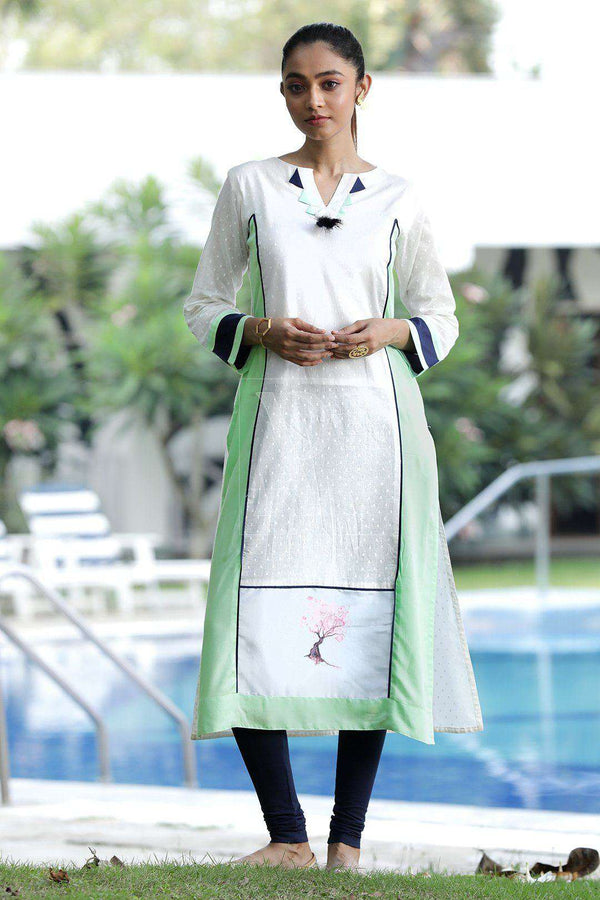 White Long Sleeve Kurta