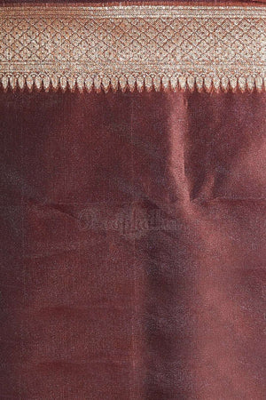 Rust Brown Banaras Silk Saree With Zari Border