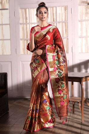 Rust Brown Banaras Silk Saree With Zari Border VARANASI CHRONICLES Roopkatha - A Story of Art